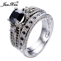 Gorgeous Black Sapphire Crystal Ring Sets Promise Engagement Rings For Women Fashion 10KT White Gold Filled Jewelry RW1222