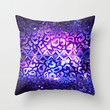 TRIBAL LEOPARD GALAXY Animal Print Aztec Native Pattern Geometric Purple Blue Ombre Space Galactic Throw Pillow by EbiEmporium