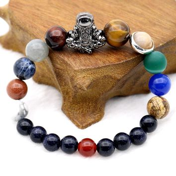 Astronaut Charm Solar System 9 Planets Universe Galaxy Spaceman Stones Beaded Men Women Stretchy Bracelets Bangles
