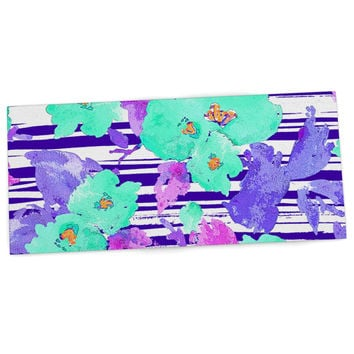 "Emine Ortega ""Cherry Blossom"" Teal Purple Desk Mat"
