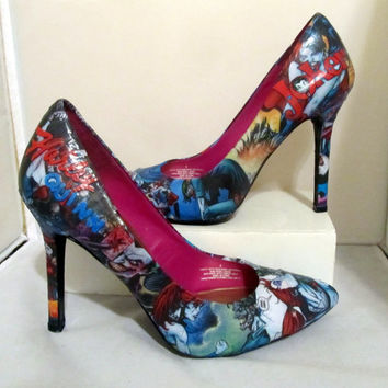 c3b1d4c5ab61 Harley Quinn and Joker Comic Book High Heels - Made to Order