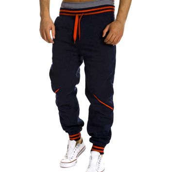 Plus Size Men Pants Striped Pockets Elastic Waist Drawstring Hip Hop Harem Pants Male Trousers Mens Joggers Pants Sweatpants