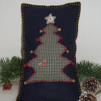 CHRISTMAS OOAK Folk Art Shelf Pillow, Handmade, Christmas Tree, Navy Blue Wool,Green, Red Bells, Gold Bells