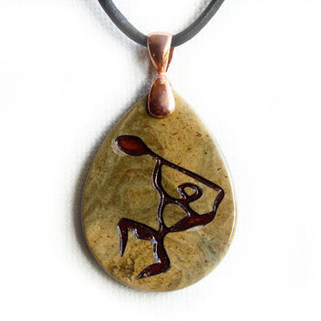 Hawaiian Kayak Jewelry - Paddle Dancer Necklace - Engraved Stone Pendant - Jasper