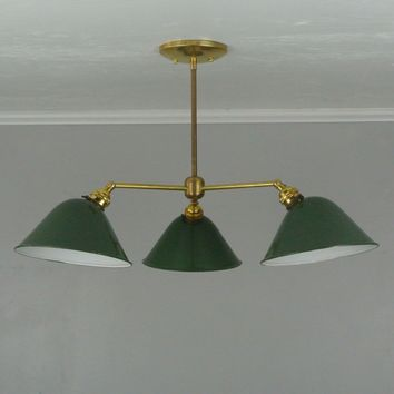 Antique Enamel Three Arm Chandelier