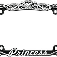 Cruiser Accessories 22635 Chrome/Black Princess License Plate Frame