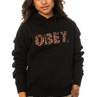 The Obey Cheetah Font Logo Pullover Hoodie in Black (Exclusive)