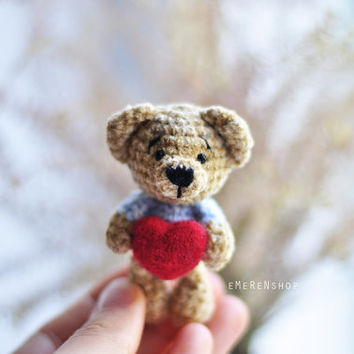 Small teddy bear with red heart- Crochet Teddy bear - Amigurumi Cutie Bear - Crochet Animal Plush - Children's Toy - Amigurumi Teddy Bear