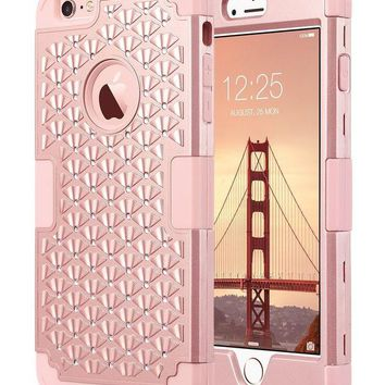 DCCK2JE iPhone 6 Plus Case, iPhone 6S Plus Case Glitter, ULAK 3D Bling Rhinestone Heavy Duty Shockproof Hybrid Hard PC Soft Silicone Rubber Protective Case for iPhone 6 Plus / iPhone 6s Plus 5.5inch-Rose Gold