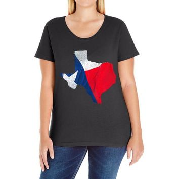 Eroded Texas Map With Flag Ladies Curvy T-Shirt