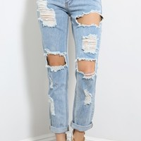 Material Girl Destroyed Boyfriend Jeans | MakeMeChic.com