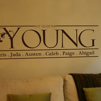 Personalized Family Name Vinyl Wall Art Decal