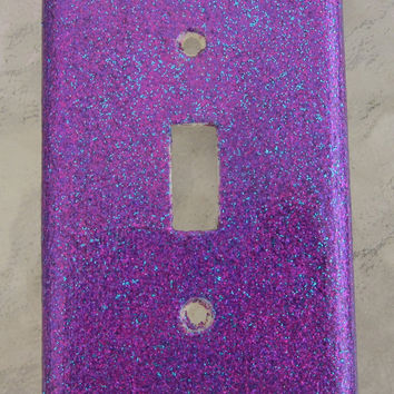 Purple, Pink & Blue Single Glitter Light Switch Cover