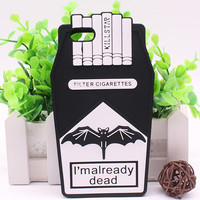 For iPhone 6 6S Plus 5 5S Fries Chips Fashion Funny 3D Cigarette Dead Killstar Silicone Rubber Case Cover Shell