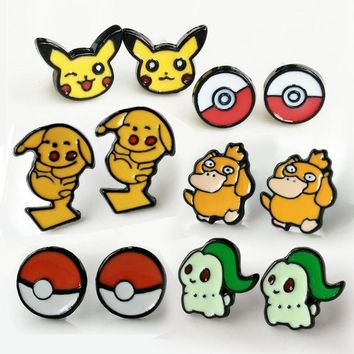 figures cosplay Earrings Pocket Monster Duck Anime Cartoon Pokeball Ear Piercing Stud Earrings Jewelry pendientes hombreKawaii Pokemon go  AT_89_9