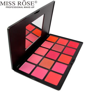 MISS ROSE 1pc Professional 10 Colors Blush Palette Makeup , Blusher Face Cosmetics Natural Pink Red Orange Make Up A170