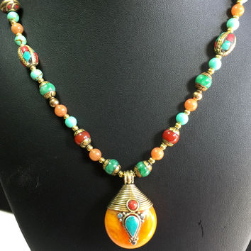 "20"" Turquoise and Amber Tibetan Beads with 2"" Tibetan Pendant, mosaic beads, 20"" Necklace box clasp"