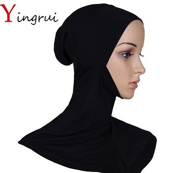 Under Scarf Hat Bone Bonnet Full Neck Cover Inner Muslim Cotton Hijab Cap Islamic Head Wear Hat Underscarf Scarves Turban Shawl