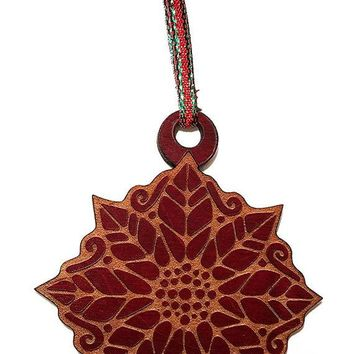 Poinsettia Laser Engraved Red Painted Wooden Christmas Tree Ornament Gift Seasonal Decoration