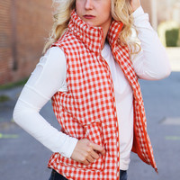 Perfect Check Vest {Orange + White}