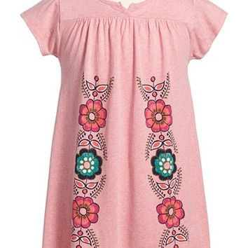 Girl's Tea Collection 'Altiplano' Notched Neck Cotton Dress,