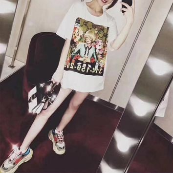 """Gucci Ignasi Monreal"" Women Casual Fashion Oil Painting Portrait Print Short Sleeve T-shirt Top Tee"