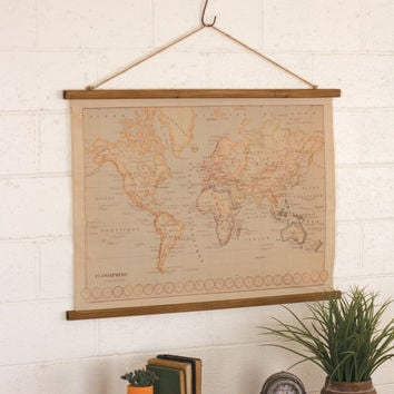 Canvas Printed World Map with Wooden Detail