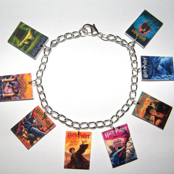 Harry Potter  Book Cover Charm Bracelet, Voldemort Deathly Hallows, Hogwarts, Half Blood Prince