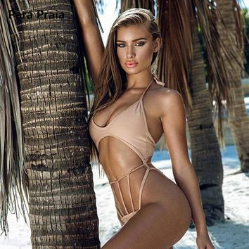 2018 New Halter One Piece Swimwear Cut Out Swimsuit Sexy High Cut Monokini Solid Strings Swim Suit Hollow Out Swimwear for Women
