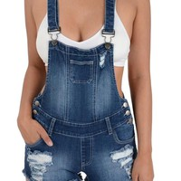 Women's Ripped Cut-Off Short Overalls RJSO608 - CC7C