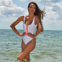One Piece Triangle Swimwears vest Zip monokini conjoined push up siamese swimsuit women bathing suit High cut