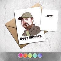 Supernatural Birthday Card,  Bobby Singer Fan Art, Approximately 5 x 7 Blank Card, Kraft Envelope, Happy Birthday Idjit, Fun, Original Art