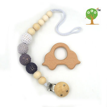 natural pacifier clip dummy holder safe wooden crochet beads shade of grey beech car teether set baby boy gift box NT172