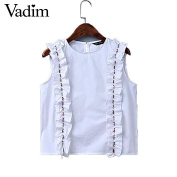 Women sweet ruffles beading crop top sexy sleeveless shirt o-neck white blouse ladies summer brand casual tops blusas WT399