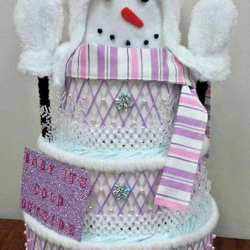 Baby Its Cold Outside Themed Baby Shower , 4 Tier Snowman Pink And Purple Diaper Cake , Table Centerpiece , Creative Baby Gift