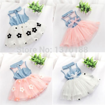 new summer Baby Girls Kids Princess One-pieces Denim Dress floral tutu dress kids clothes = 1958494724