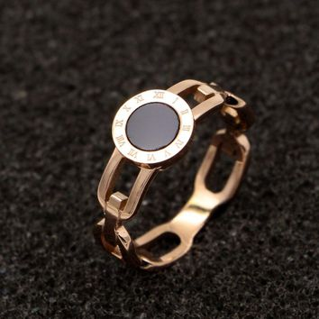 Martick Europe Brand Roman Numerals Woman Rings Black Piece Hollow Out Rings Rose Gold Color Hot Rings R111