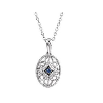 Vintage Style Blue Sapphire Oval Necklace in Sterling Silver