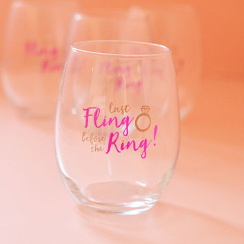 Last Fling Before The Ring Stemless Wine Glass Wedding Favor or Gift (Set of 4) Pink and Gold