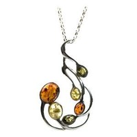 """Sterling Silver Multicolored Amber Large Pendant Necklace, 18"""""""