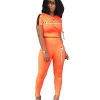 Champion Fashion New Summer Letter Print Hooded Sports Leisure Long Sleeve Top And Pants Two Piece Suit Orange