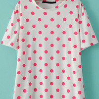 Pink and White Short Sleeve Polka Dot T-Shirt