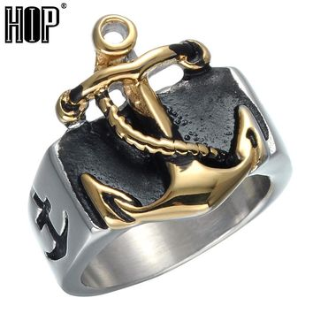HIP Punk Biker Two Tone Gold Color Titanium Stainless Steel Anchor Navy Nautical Sailor Rings for Men Jewelry