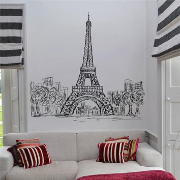 ik2477 Wall Decal Sticker Eiffel Tower Paris France living room bedroom