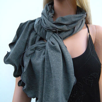 Sailor Blue  long jersey scarf Light Teal  scarf with ruffled edges- Neck rag  Fall-Winter Fashion