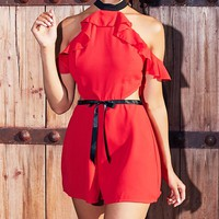 Red Ruffle Cold Shoulder Detail Contrast Playsuit