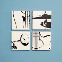 6 x 6 Musical Instrument Quadruple: Guitar, Trumpet, Bass, & Cymbal (White Traditional Wood Cradled Panel w/ Black)