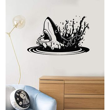 Vinyl Decal Shark Water Scary Decor Bathroom Art Wall Stickers Unique Gift (ig2784)