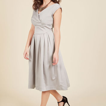 Emily and Fin Keener Postures Midi Dress in Smoke | Mod Retro Vintage Dresses | ModCloth.com