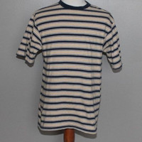 On Sale Vintage 90s Stripe Navy Blue Yellow T Shirt Ringer Surfer Skater Nerd Grunge